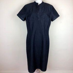 Layfayette 148 Denim Tucked Waist Sheath Dress